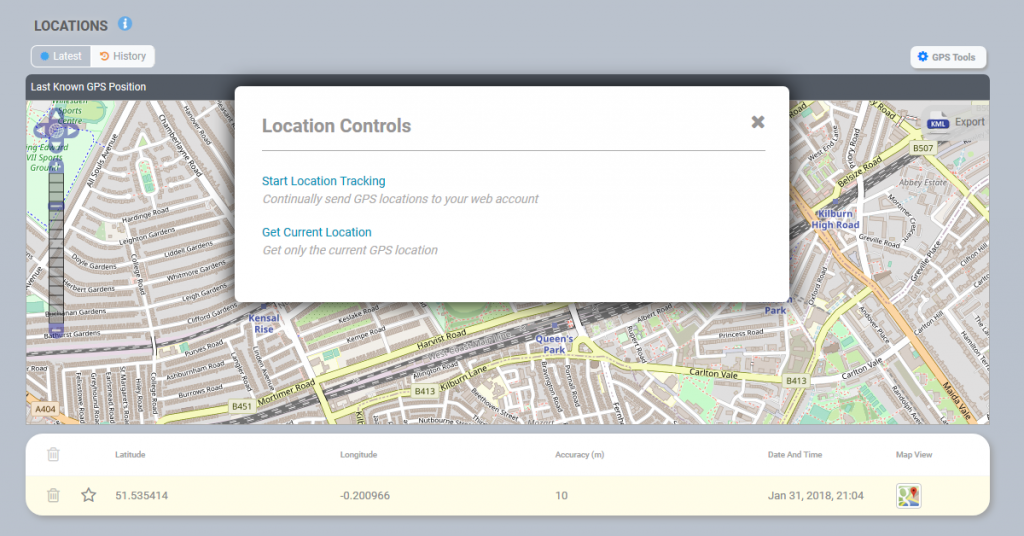 Location controls demo features