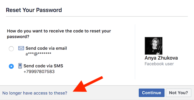 Facebook Reset the Password